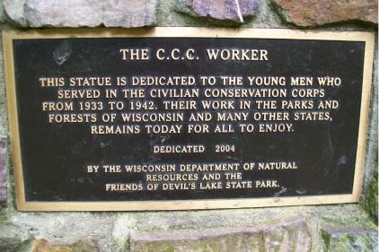 CCC statue plaque