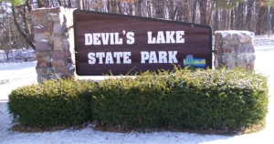 Devils Lake sign