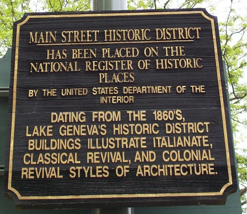 Lake Geneva Main St. Historic District sign