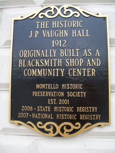 Vaughn Hall plaque in Montello
