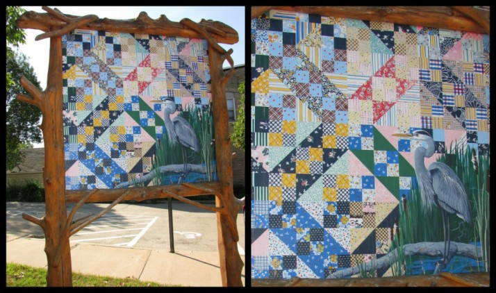 C.J. Sell Jacob Ladder Quilt and Heron Art in Montello