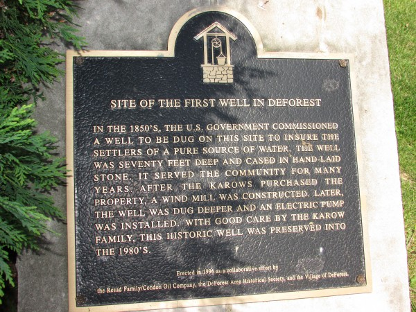 DeForest Wisconsin First well historic marker