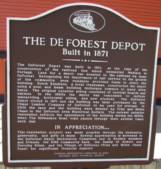 DeForest Depot Historic Marker
