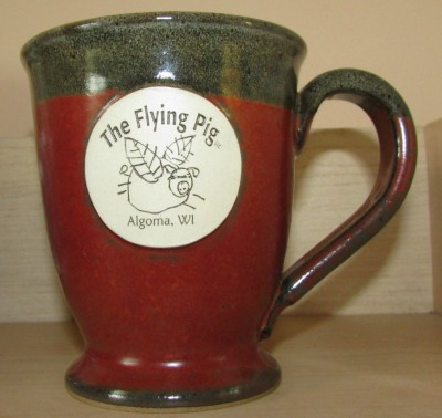 Flying Pig stoneware mug