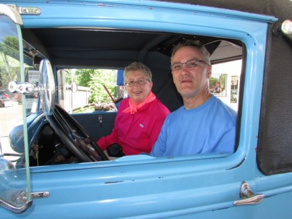 Inside classic car