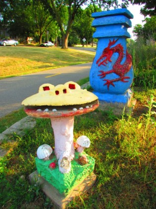 Smiling Mushroom and Blue Dragon Urn