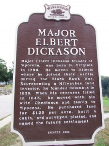 Major Elbert Dickason Marker in Wyocena