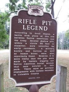 Rifle Pit Legend at Wyona Park in Wyocena WI