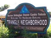 Triangle Neighborhood sign
