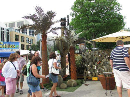 Metal Cactus and palm tree