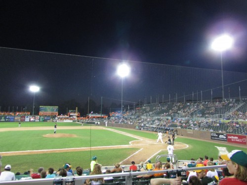 Mallards Baseball at night