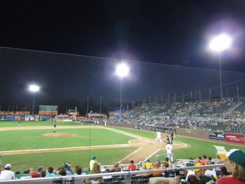 Mallards Baseball at night