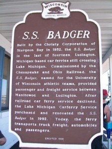 S.S. Badger Historic marker in Manitowoc