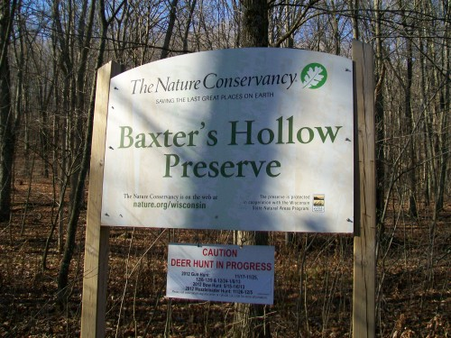 Baxter's Hollow sign