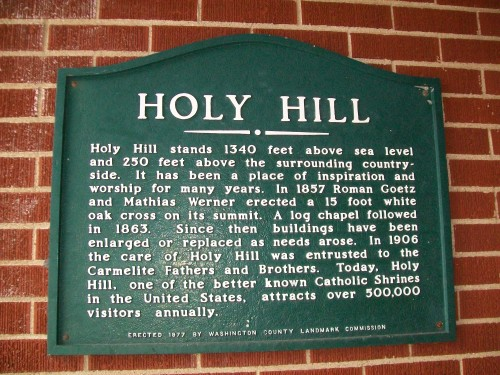 Holy Hill plaque