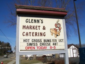 Glenn's Market sign in Watertown