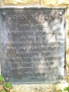 John M. Olin dedication plaque