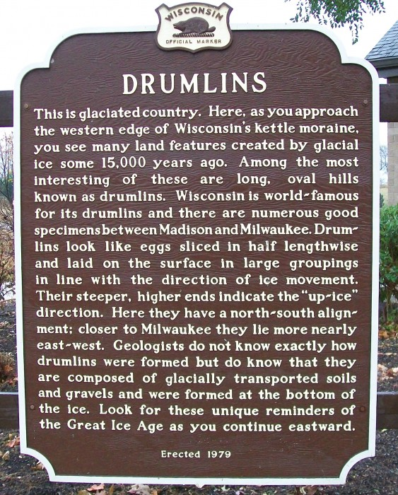 Drumlin historic marker near Johnson Creek