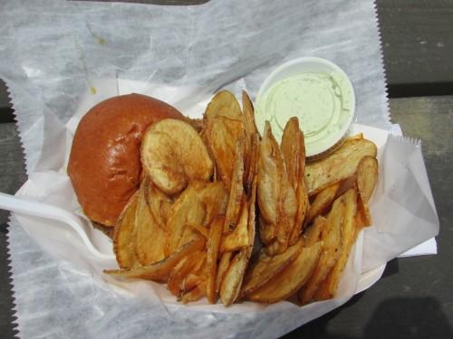 Slide Food Cart burger and chips