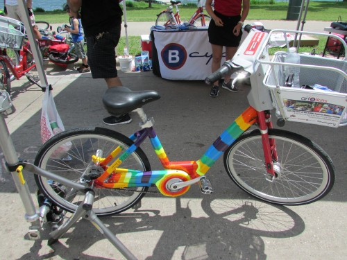 B-Cycle rainbow bike