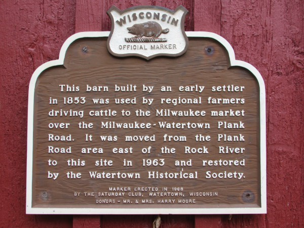 Red Barn plaque in Watertown