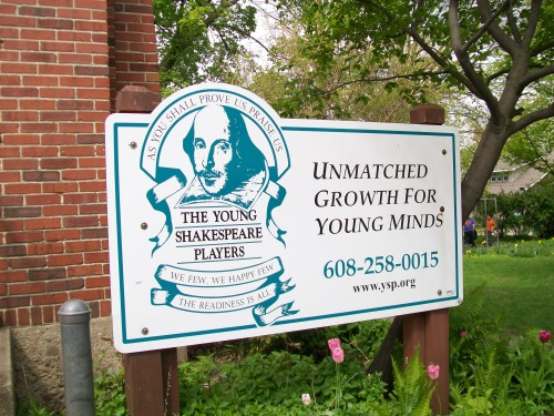 Young Shakespeare sign