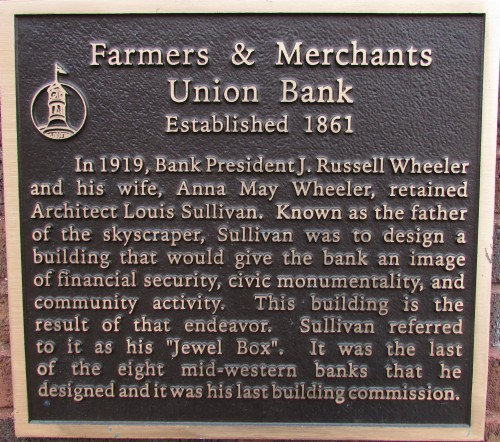 Farmers and Merchants Bank plaque
