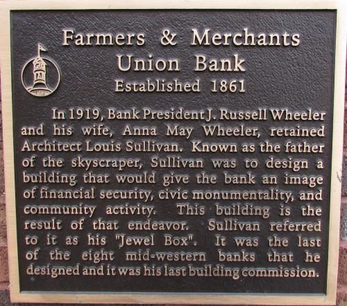Farmers and Merchants Bank plaque