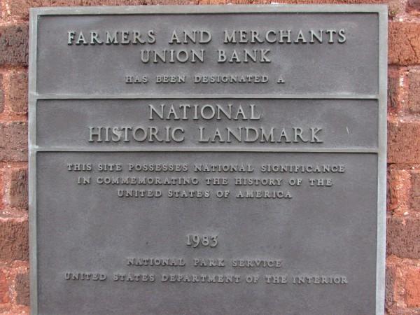 Farmer and Merchant Bank plaque in Columbus