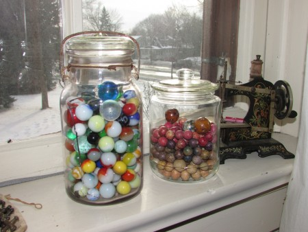 Marbles and sewing machine