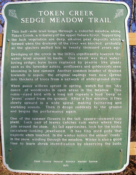 Sedge Meadow Trail sign