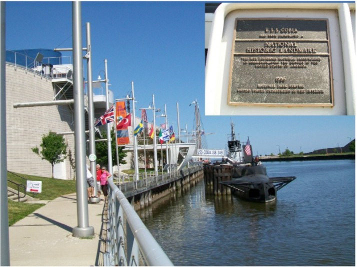 Uss Cobia outside and plaque in Manitowoc