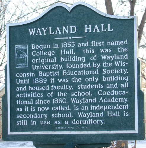 Wayland Hall sign