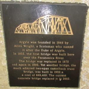 Argyle Bridge plaque