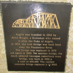 Argyle Bridge plaque