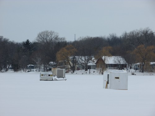 Rock Lake ice shanties