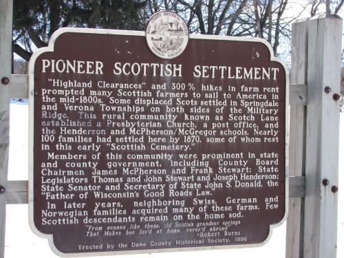 Pioneer Scottish Settlement marker