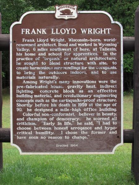 Frank Lloyd Wright marker