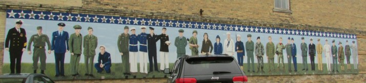 New Lake Mills Veterans Mural painted in 2014
