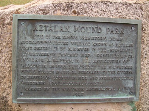 Aztalan Mound Park plaque