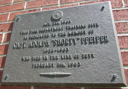 Captain Adolph Pfeifer plaque