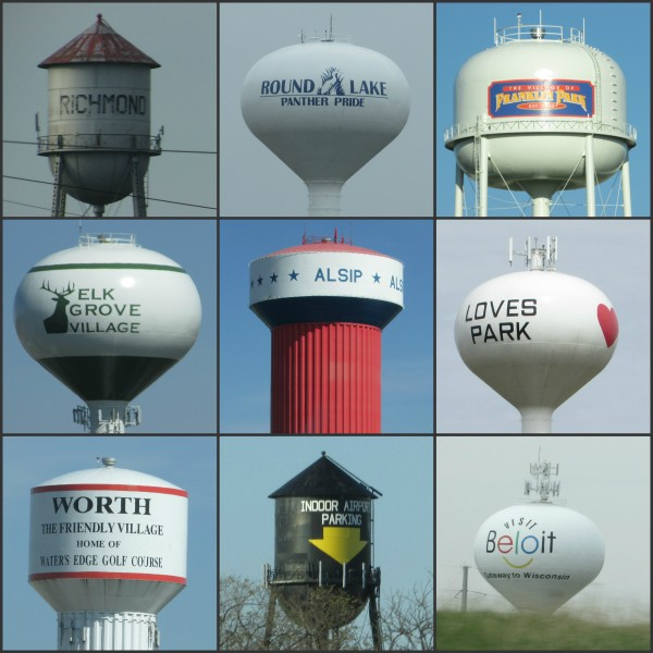 Illinois Water tower Collage