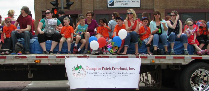 Pumpkin Patch Preschool float at Syttende Mai 2015