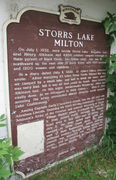 Storrs Lake Milton Marker