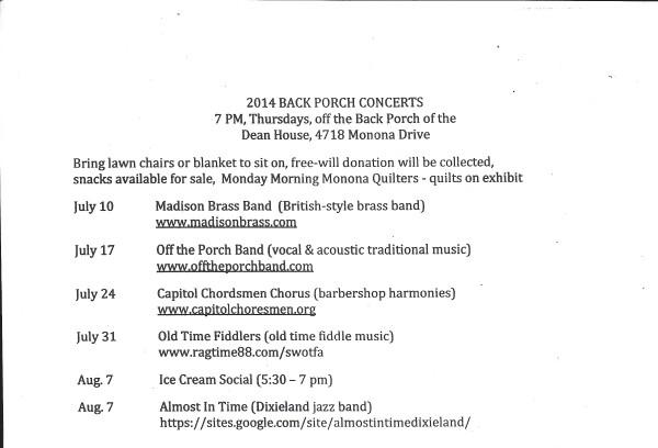Dean House concerts