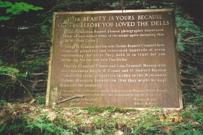 Dells plaque in Witches Gulch