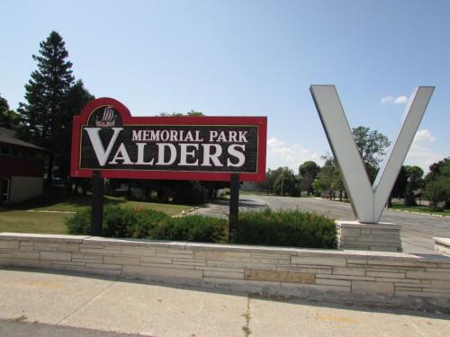 Valders Memorial park sign