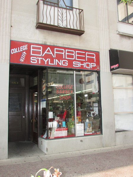 College Barber Shop on State closed Sept 2014