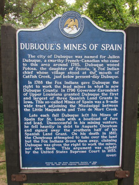 Dubuque Mines of Spain marker