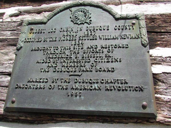Dubuque Log House plaque